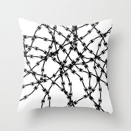 Trapped Black on White Throw Pillow