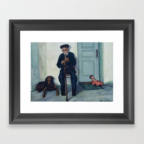 Grandpa, a recorder and Foreo Framed Art Print