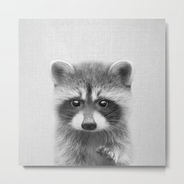 Raccoon - Black & White Metal Print