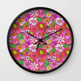 60's Lovers Floral in Lipstick Pink Wall Clock