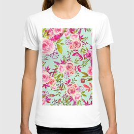 Watercolor pink violet lucite green modern floral T-shirt