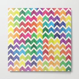 Watercolor Chevron Pattern IV Metal Print