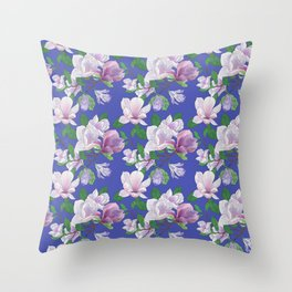 Magnolia Floral Print Throw Pillow