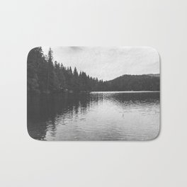 Reflections on black & white lake Bath Mat