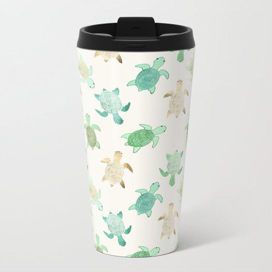 Gilded Jade & Mint Turtles Metal Travel Mug