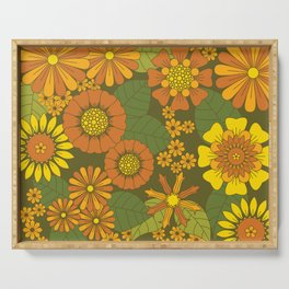 Orange, Brown, Yellow and Green Retro Daisy Pattern Serving Tray