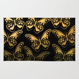 Sunrise over jungle butterfly pattern Rug