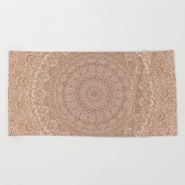 The Most Detailed Intricate Mandala (Brown Tan) Maze Zentangle Hand Drawn Popular Trending Beach Towel