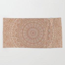The Most Detailed Intricate Mandala (Brown Tan) Maze Zentangle Hand Drawn Popular Trending Beach Towel