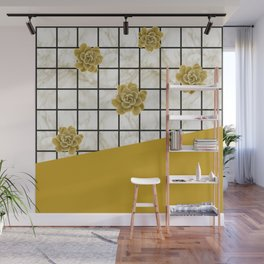 Succulents geometric composition - Yellow Lemon Curry Wall Mural