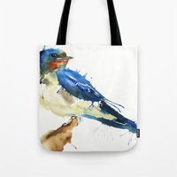 swallow Tote Bags featuring Swallow by Meg Ashford
