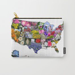 State Flowers Map Carry-All Pouch