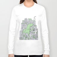 godzilla Long Sleeve T-shirts featuring Godzilla by Mild Peril Media