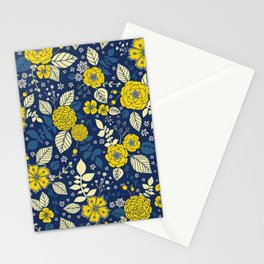 Yellow & Blue Floral Pattern Stationery Cards