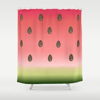 watermelon Shower Curtains featuring Watermelon by Julia Badeeva