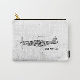 North American P51 Mustang (black) Carry-All Pouch