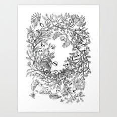 Birds tree botanical pattern Art Print