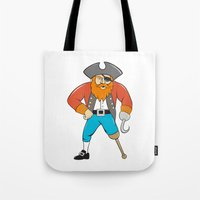 captain hook Tote Bags featuring Captain Hook Pirate Wooden Leg Cartoon by patrimonio