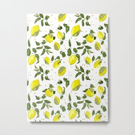 Citrus lemon with seeds and leaves pattern Metal Print