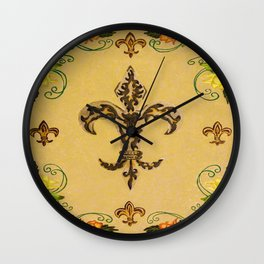 Fluer de lis (warm) Wall Clock