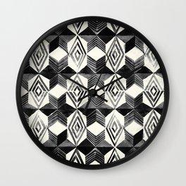 Shibori Diamond Stars Black Earth and Ivory Wall Clock