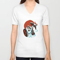 harley quinn V-neck T-shirts featuring Harley Quinn by Piano Bandit