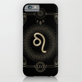 Golden zodiac leosign iPhone Case