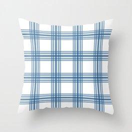 Farmhouse Plaid in Blue on White Throw Pillow