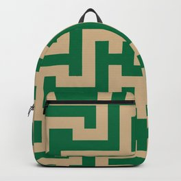 Tan Brown and Cadmium Green Labyrinth Backpack