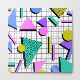 80s Retro Geometric Pattern 2 Metal Print