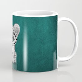 Cute Snow Leopard Cub Wearing Glasses on Teal Blue Coffee Mug