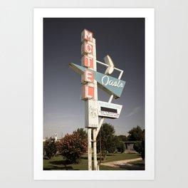 Aged Oasis Motel Route 66 Sign - Tulsa Oklahoma Art Print