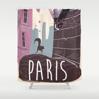 travel poster Shower Curtains featuring Vintage Paris Travel Poster cartoon by Nick's Emporium Gallery