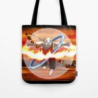 aang Tote Bags featuring Avatar Aang by Waffle Guru