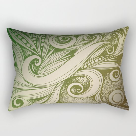 Tangled curves, olive Rectangular Pillow