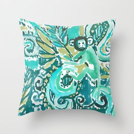 MONKEY TRICKSTER - JADE Throw Pillow