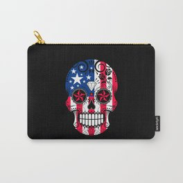 Sugar Skull with Roses and Flag of The United States Carry-All Pouch
