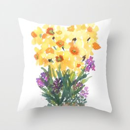 Spring Daffodil Patch Throw Pillow