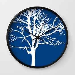 tree blue and white Wall Clock
