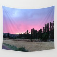 madrid Wall Tapestries featuring atardecer Madrid by Maritserg