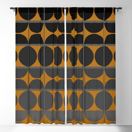 Black and Gray Gradient with Gold Squares and Half Circles Digital Illustration - Artwork Blackout Curtain