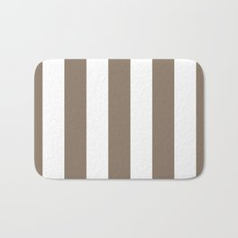 Taupe and White Vertical Stripes 894 Bath Mat