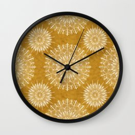 Vintage Mandala on Gold Wall Clock