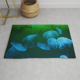 Moon Jellyfish - Blue and Green Rug