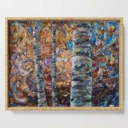 Birch Trees with Palette Knife by OLena Art for @society6 Serving Tray