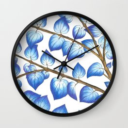 Breezy Blue Leaves Wall Clock