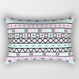 Aztec Influence Pattern Blue Black Pink White Rectangular Pillow