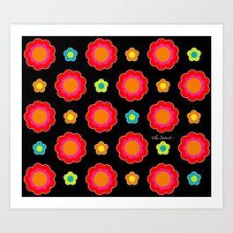 Colorful Flowers on Black Art Print