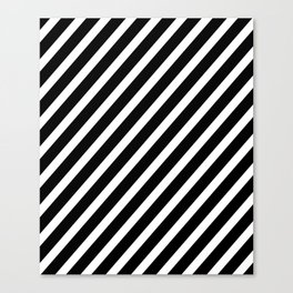 Black and White Diagonal Stripes Canvas Print