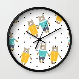 Cute bears in dotted background Wall Clock